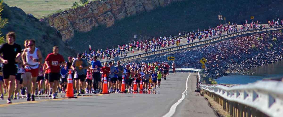 Runners ascending Monster Hill, Centennial Parkway, Horsetooth Half Marathon