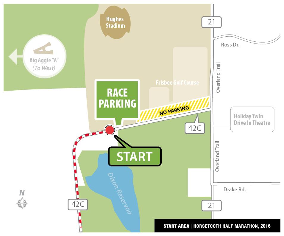 Horsetooth Half Marathon Start and Parking Area Map